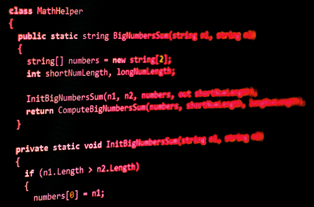 syntax: Programming code - red color, written in C# language syntax on black