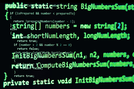 syntax: Programming code - green color, written in C# language syntax on black Stock Photo