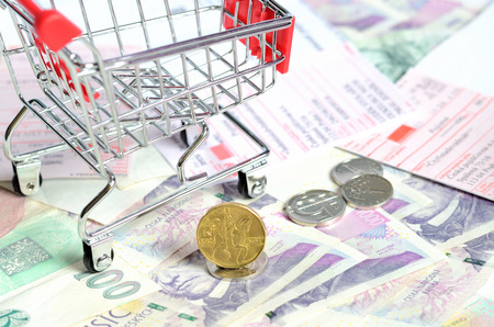 czech republic coin: Shopping cart and czech currency money banknotes, coins and postal money order texture background