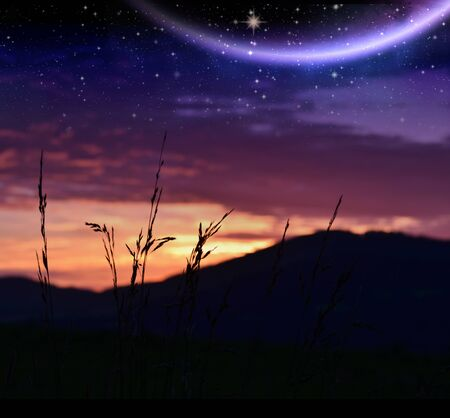 Sunset with night stellar sky and shining planet Stock Photo