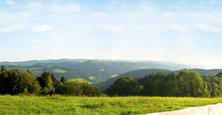Panoramic image of the Beskydy Mountains in Moravia in the Czech Republic