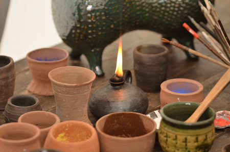 Medieval calligraphy inks - mineral pigments in ceramic pot