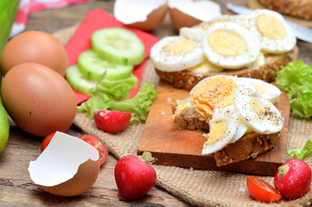Wholegrain bread with butter, hard-boiled eggs, fresh radishes, tomatoes, salad and cucumbers in background Imagens