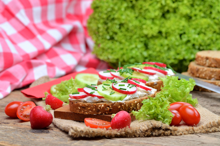 Close-up of wholemeal grain bread with curd cheese, fresh radish, cucumber and tomatoes on a wooden cutting board - concept of healthy fitness breakfast or snack, fresh salad in background