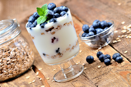 Homemade yogurt with oatmeal, fresh blueberries and mint leaves Imagens - 115661566
