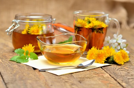 Dandelion honey, herbal tea, full jar of honey, spring flower, fresh mint leaves, spoon and dandelion head around