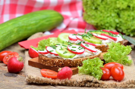 Close-up of grain bread with curd cheese, fresh radish, cucumber and tomatoes on a wooden cutting board - concept of healthy fitness breakfast or snack, salad and whole cucumber in background Imagens
