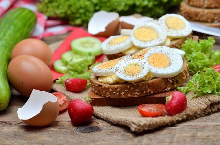 Wholemeal bread with butter, hard-boiled eggs, fresh radishes, tomatoes, salad and cucumbers
