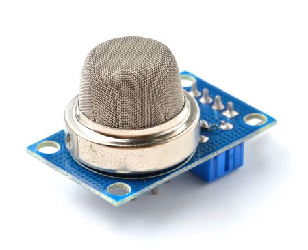 Air quality sensor module for electronic parts. Gas and fire detection. Isolated on white background. Stok Fotoğraf