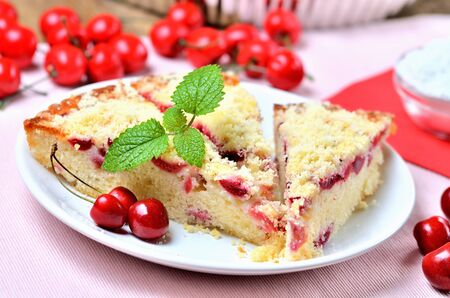 Traditional souffle cake with sour cherries from Czech Republic.