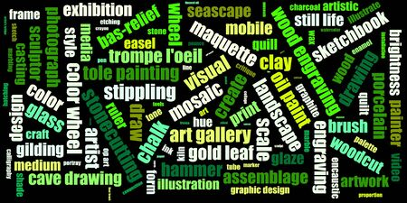 Tag cloud concept. Collage illustration. Terms - art. Colors: wild blue yonder, blue green, manatee, outer space, gray. 版權商用圖片