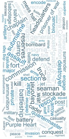 Tag cloud concept. Collage illustration. Terms - military. Colors: cadet blue, silver, gray, timberwolf, manatee.