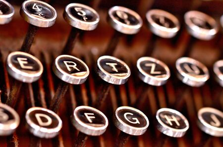 Detail of antique typewriter keyboard. Low depth of field.