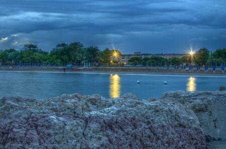 Caorle, Veneto, Italy beach at night. HDR. Long exposure time.