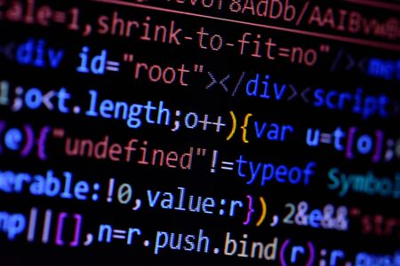 Macro of minified javascript file. Computer programming source code for HTML website development.