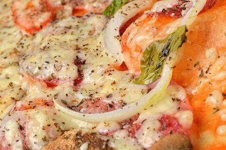Fresh baked homemade pizza with mushrooms, onions, Gouda cheese, basil, oregano and tomato sauce. Macro.