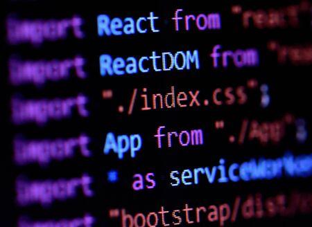 Close-up of React, Javascript programming source code 免版税图像
