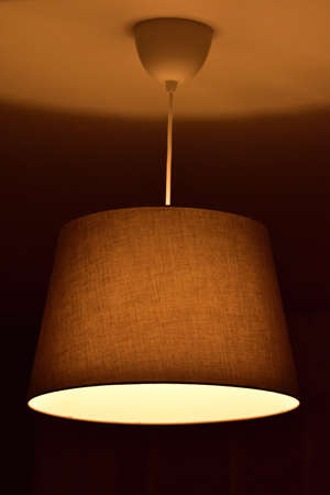 Modern chandelier with textile shade and bulb with warm white. Vertical photo.