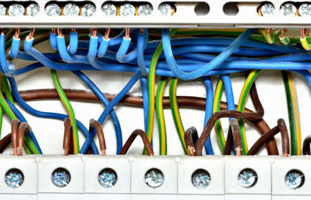 Detail of wiring of electric cables to circuit breakers