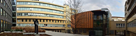 Courtyard of the Faculty of Informatics of Masaryk University in Brno. Panoramic photo.