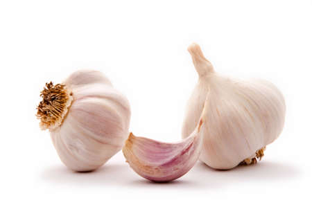 angiosperms: Allium sp. Garlic is widely used for its pungent flavor. Stock Photo