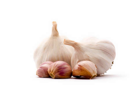 alliaceae: Allium sp. Garlic is widely used for its pungent flavor. Stock Photo