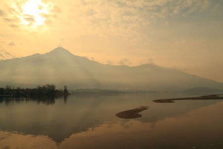 Como lake (Sorico), walking at sunset