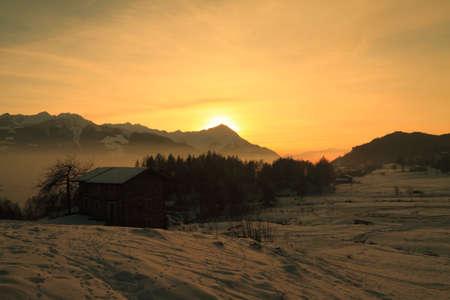 Valtellina (Italy), sunset on the alps Stock Photo - 10132409