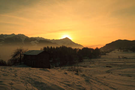 Valtellina (Italy), sunset on the alps Stock Photo - 10132409
