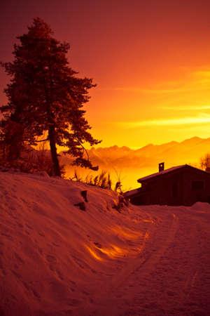 Alps at sunset - Poira(Valtellina) - Italy Stock Photo - 10264034