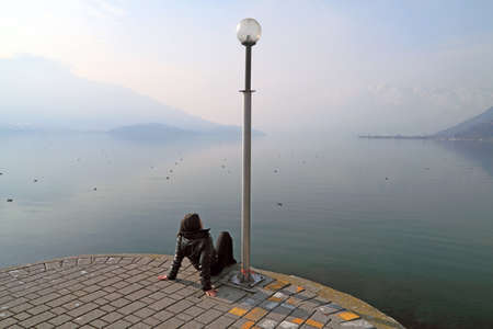 Como lake & a woman photo