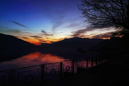 Como lake at sunset photo