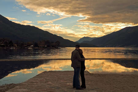 Como lake at sunset