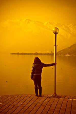 Woman on sunset photo