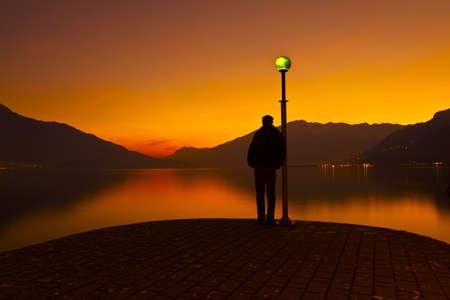 sad love: Como Lake Stock Photo