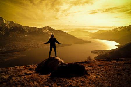 Woman & sunset photo