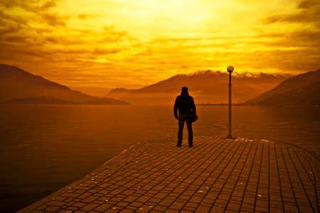 Man & Sunset Standard-Bild