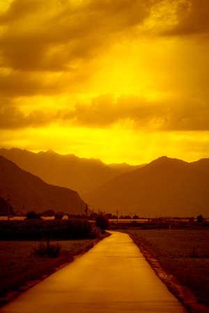 Sunset fields photo