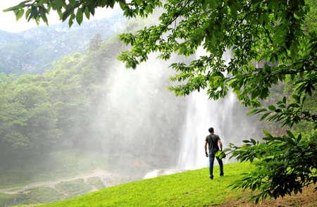 man waterfalls: Man & waterfalls
