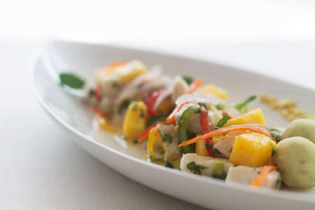 mango fish: Fresh fish salad with mango with diffused background