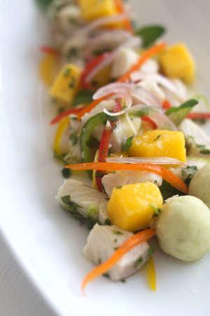 mango fish: Fresh fish salad with mango close up shot from above Stock Photo
