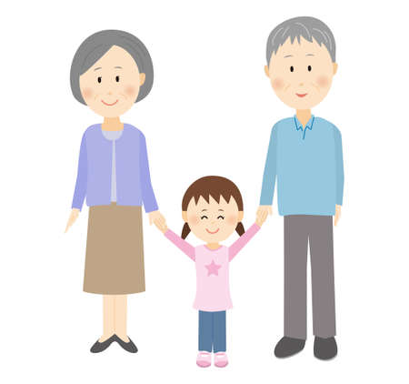 A child holding hands with grandpa and grandma