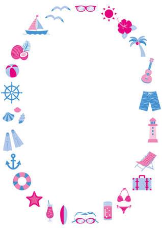 Summer vector illustration set for beaches, pools, drinks, etc. Vektorové ilustrace