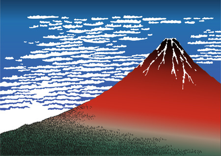 mountains and sky: Red Fuji