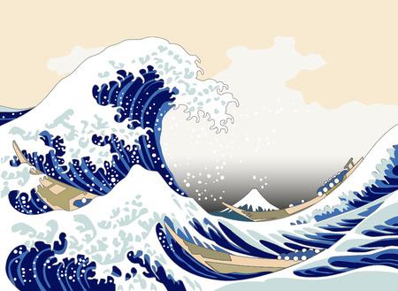 Ola de Hokusai Foto de archivo - 30548096