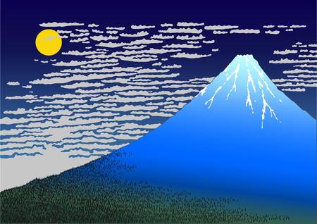 hokusai: Night Fuji Illustration