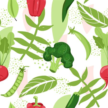Contemporary seamless pattern with various vegetable, leaves and abstract elements. Creative floral collage. Vector texture for textile, wrapping paper, scrapbooking, packaging etc. Vector illustration.