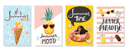 Set of summer greeting cards. Women floating on swim ring, ice cream, cute pineapple, lemonade, etc. Summer rest and vacation concept. Vector illustration. Stock Illustratie