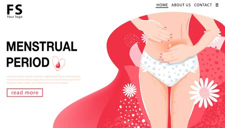 Período menstrual. Plantilla de página de destino. Mujer que tiene dolor abdominal. Concepto de salud de la mujer con cuerpo de mujer, ingle de mujer y flores. Ilustración de vector.