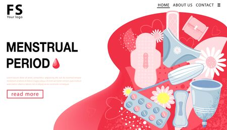 Menstrual period. Landing page template. Womans hygiene concept with menstrual cup, tampon, sanitary napkin, chamomile and hearts. Vector illustration. Illustration